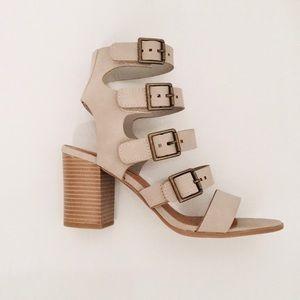 Cityclassified Gray Gladiator Chunky Heel Sandal